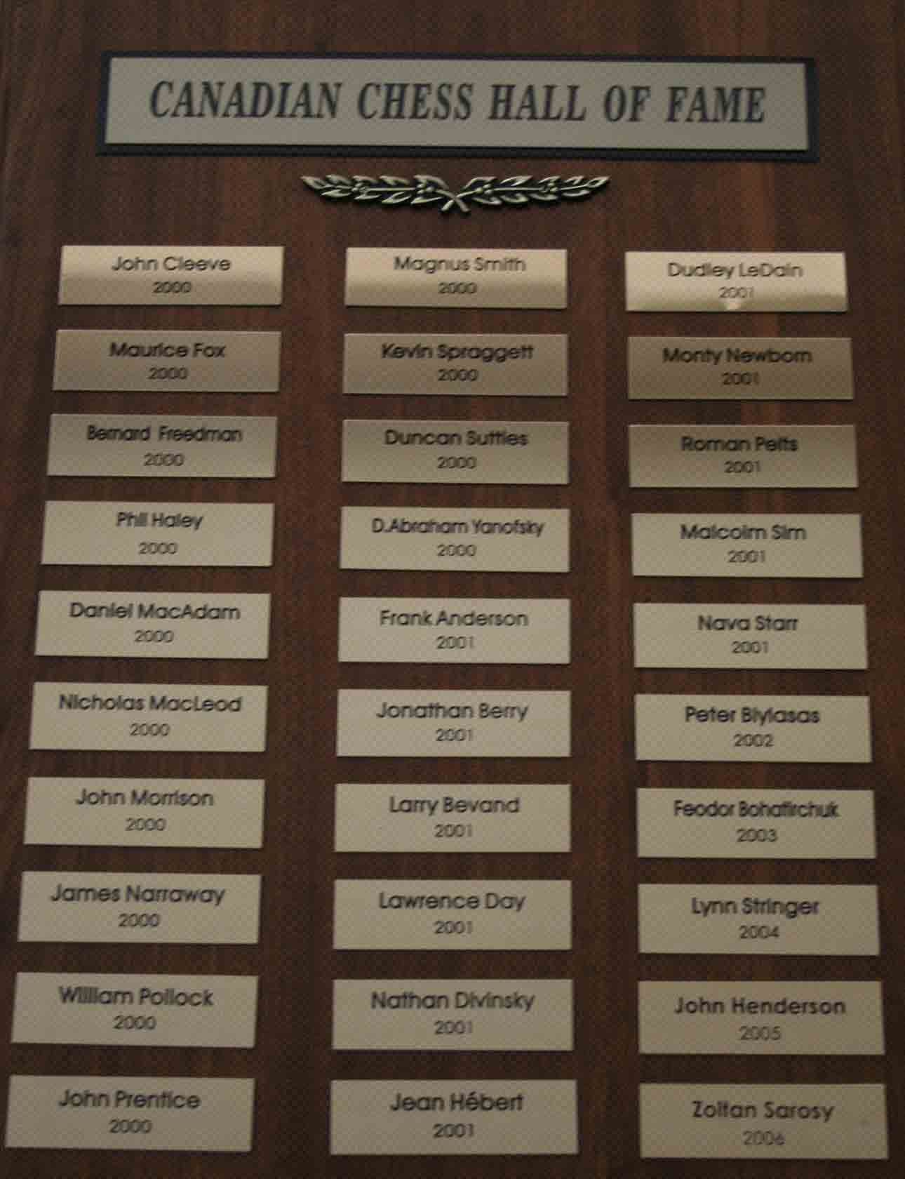 Canadian Chess Hall Of Fame Plaque 1